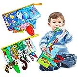 Magicfun Libri di Stoffa per Neonati, 3 Pezzi Libro Morbido con Coda di Animali Dinosauri, Libri Tessuto Baby di Giocattoli E