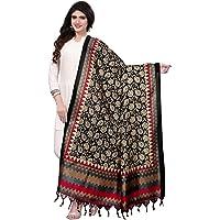 KANCHNAR Women's Bhagalpuri Silk Printed Dupatta(12FD546;Black_Red_Multi;Free Size)