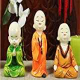 RJKART Colorful Resine Laughing Baby Buddha Showpiece Figurine for Home and Office Decor Multicolour Set of 3