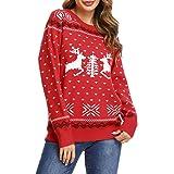 Irevial Jersey Suéter de Navidad para Mujer Jersey navideño Mujer Manga Larga Estampadas Pullover de Punto Cuello Redondo Inv