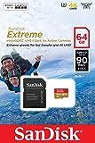 SanDisk Extreme 64GB microSDXC für Action-Sport-Kameras Speicherkarte bis zu 90MB/Sek, Class 10, U3, V30