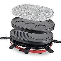 H.Koenig Appareil à raclette RP412 Multifonction 8 personnes Professionnel, Pierre naturelle, 6 mini crêpes pancakes…
