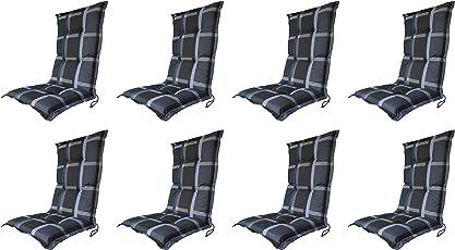 """Madison 8 x 8 cm Luxus Hochlehner B 255"""", schwarz grau kariert, 120 x 50 x 8 cm"""