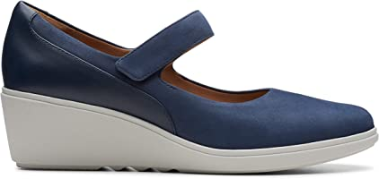 Clarks Un Tallara Ivy, Women's Women Pumps, Blue (Navy Nubuck Leather Combi), 4 UK (37 EU)