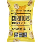 THE CURATORS Pork Puffs - Original Salted, 22g (12 Packs) - High Protein Low Carb Keto Savoury Snacks