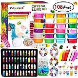 DIY Slime Fluffy Kit - 24 Farben Schleim Kit für Mädchen Jungs Spielzeug mit 48 Glitter-Pulver, klares Schleim-Zubehör für Kunsthandwerk für Kinder, lufttrockenen Lehm, Fruchtscheiben und -werkzeug