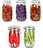 Pack of 5 Kitchen Dinning Food Container Pickle Grocery Grain Spice 1500ml Buckle Clamp Lid