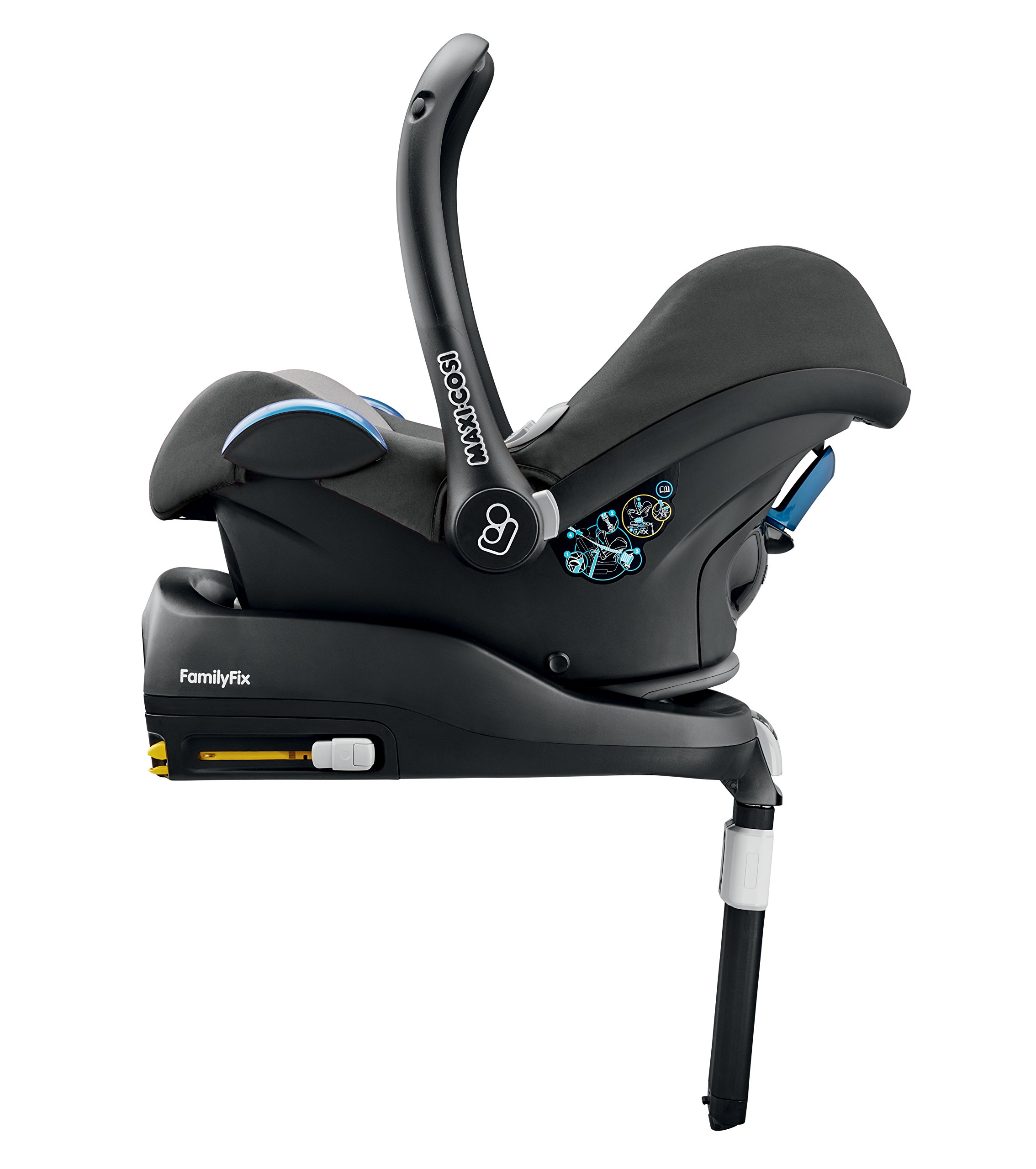 Maxi-Cosi CabrioFix Baby Car Seat Group 0+, ISOFIX, 0-12 Months, 0-13 kg, Concrete Grey Maxi-Cosi Suitable from birth to 13 kg (approximately 12 months) Compatible with Maxi-Cosi and Quinny pushchairs to form a travel system Easy installation in combination with Maxi-Cosi FamilyFix Base, EasyFix Base or a three-point seat belt 6