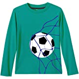 Real Basics Boys' Fullsleeve Tshirt, Blue, Regular Fit, 100% Cotton, Boys Will be Football