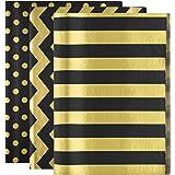 MIAHART 60 pièces papier de soie noir or en vrac 3 style papier d'emballage métallique décoratif pour les mariages d'annivers