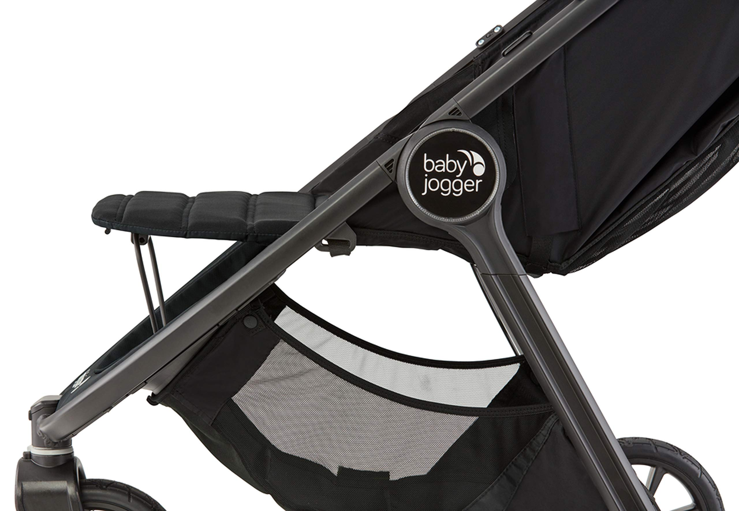 baby jogger City Mini GT2 Single Stroller Jet Baby Jogger The baby jogger city mini GT2 has an all new design, with signature one-hand compact fold, has forever air rubber tyres and all wheel suspension providing uncompromised agility on any terrain Lift a strap with one hand and the city mini GT2, folds itself: simply and compactly. The auto-lock will lock the fold for transportation or storage The seat, with an adjustable calf support and near-flat recline, holds a child weighing up to 22kg and includes a 5-point stroller harness to keep them comfortable and safely secured 3