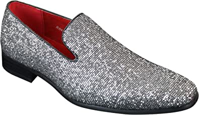 Scarpe Formali da Uomo Senza Lacci in Finta Pelle PU e Glitterati