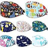 SATINIOR 8 Pezzi Cappelli Scrub con Bottoni Cappelli Stampati Colorati Annodato Indietro Cappelli da Lavoro Unisex con Fascia