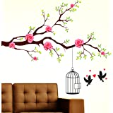 Prodecals Wall Sticker for Living Room Branch with Rose Flowers and Lovely Birds (Wall Covering Area : 130 X 110 cms…