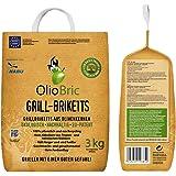 OlioBric Grillbriketts aus Olivenkernen, 3kg ✓ Ohne Rauch ✓ Kein Holz ✓ Keine Funken ✓ Lange Brenndauer   100% Recycelte Grillkohle-Briketts für jeden Grill   Umweltfreundliche & rauchfreie Kohle zum Grillen