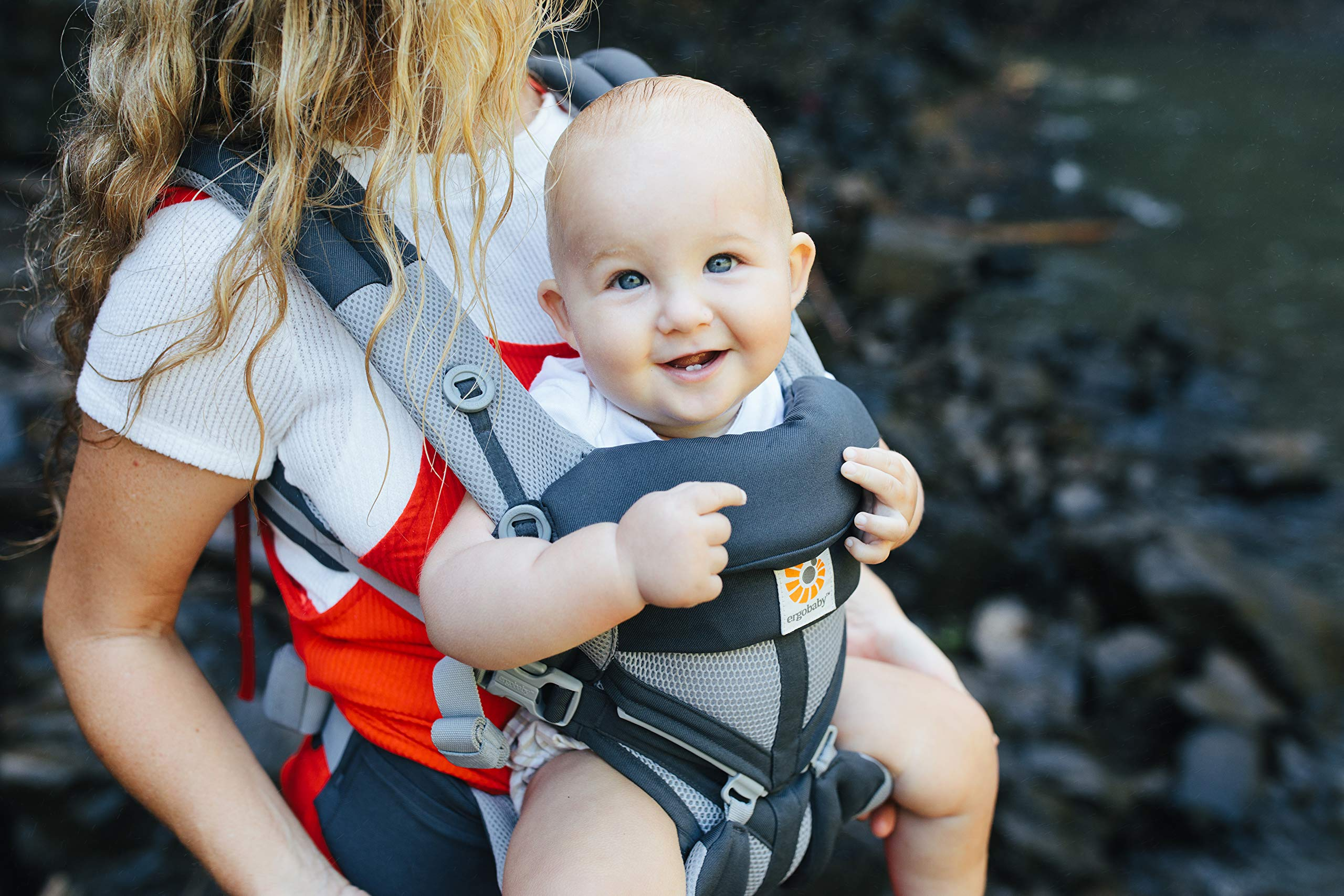 Ergobaby Baby Carrier for Newborn to Toddler, 4-Position Omni 360 Cool Air Carbon Grey, Breathable Ergonomic Child Carrier & Backpack Ergobaby BABY CARRIER FOR NEWBORN - Adapts to your growing baby from birth to toddler (7-45lbs). 4 carry positions: front-inward, back, hip, and front-outward. A Baby hood for sun protection (UPF 50+) & privacy for sleeping or breastfeeding is included. COMFORT - Exceptional lower back comfort with padded lumbar support waist belt & extra padded shoulder straps with the option to wear 2 ways: crossed or backpack style. Waist belt can be worn high or low to maximize comfort. COOL & BREATHABLE - Our Cool Air Mesh baby carriers are made with soft and durable mesh fabric that provides our renowned ergonomic support for baby while allowing for ultimate breathability and airflow 6