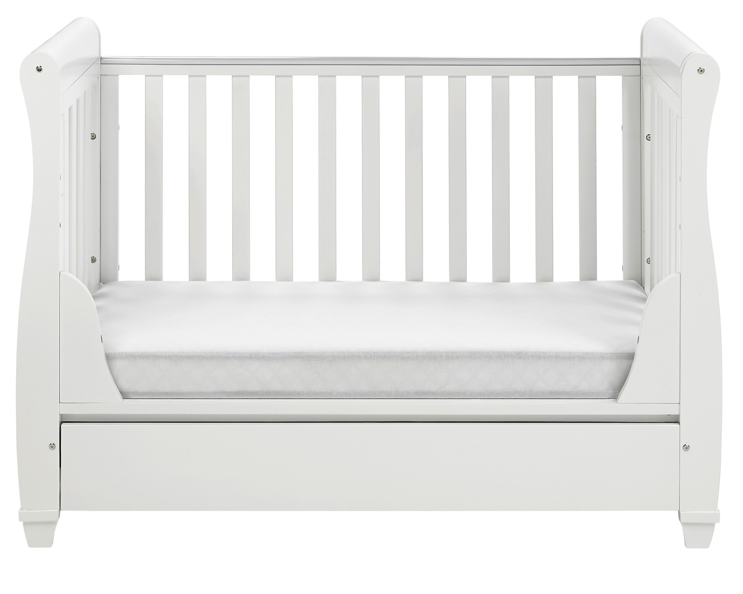 Babymore Eva Sleigh Cot Bed Dropside with Drawer (White Finish) + FOAM MATTRESS  Easily convert to junior bed/sofa/day bed, Meet British and European safety standards; Single handed drop side mechanism allow easy access to your baby Protective Teething rail on top of both sides. Full drawer on runner provide extra storage 8