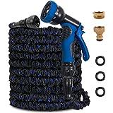 KAREEME Garden Hose 100FT Expanding Water Hose with 9 Function Spray Gun, Flexible Garden Hose Pipe with 3 Three Layer Latex