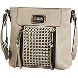 Lois - Bolso pequeño de Mujer Tipo Bandolera de Cuero PU. cómodo y de Colgante. Decorado con Remaches. Marca de Calidad y Bon