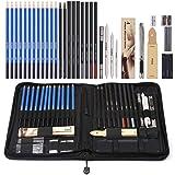 Amzdeal 42 Pcs Lápices de Dibujo Artístico para Boceto, Set de Dibujo con Lápices de Carbón y Grafito, Lapices Profesionales