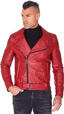D'Arienzo - Chiodo Uomo in Vera Pelle Rossa Made in Italy