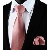 Enlision Cravatta Uomo Tinta unita e Fazzoletto Elegante Classico Cravatta Set per il Matrimonio Festa Lavoro Laurea