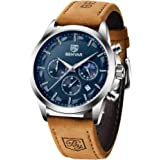 BY BENYAR Cronógrafo Reloj para Hombre Movimiento de Cuarzo Fashion Business Sports Watch 30M Impermeable Elegante Regalo de