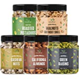 GreenFinity Dry Fruits Combo Pack - 1.175kg (Almonds, Cashews, Pistachios, Raisins - 250g, Walnuts Without Shells - 175g) - A