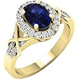 Anillo de compromiso de oro de 10quilates con zafiro azul de corte ovalado y diamante de corte redondo con forma de halo abi