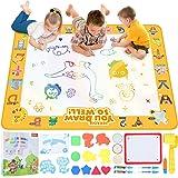 Peradix Acqua Doodle Mat,100*80cm Tappetino Doodle da Disegno Tappeto Magico Bambini con 5 Penne Magiche & 12 Stampi & Libro