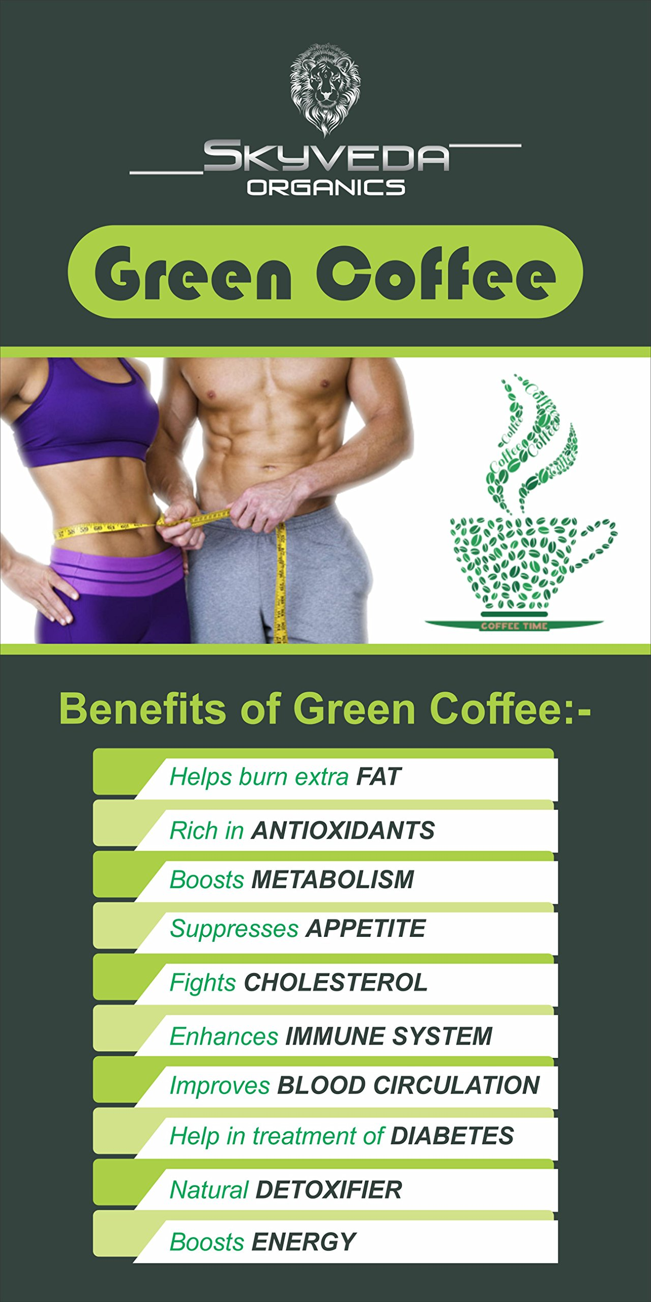 Skyveda Organics Green Coffee Beans Powder For Weight Loss 100