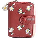 محفظة نسائية صغيرة الحجم من Ecohaso محفظة جيب جلدية مزدوجة الطي للسيدات محفظة صغيرة بسحاب مع نافذة بطاقة التعريف وقلادة أقحوا