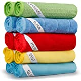 SEVENMAX Microfibre Cleaning Cloths, Multifunctional Cleaning Towels 10 Pack Rags with Label for Floor Glass Dust Polish Reus