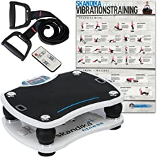 skandika Home Vibration Plate 500, Profi Vibrationsgerät, Inklusive Trainingsbänder mit Großer rutschsicheren Trainingsfläche, Fernbedienung und kraftvoller 3D-Vibration