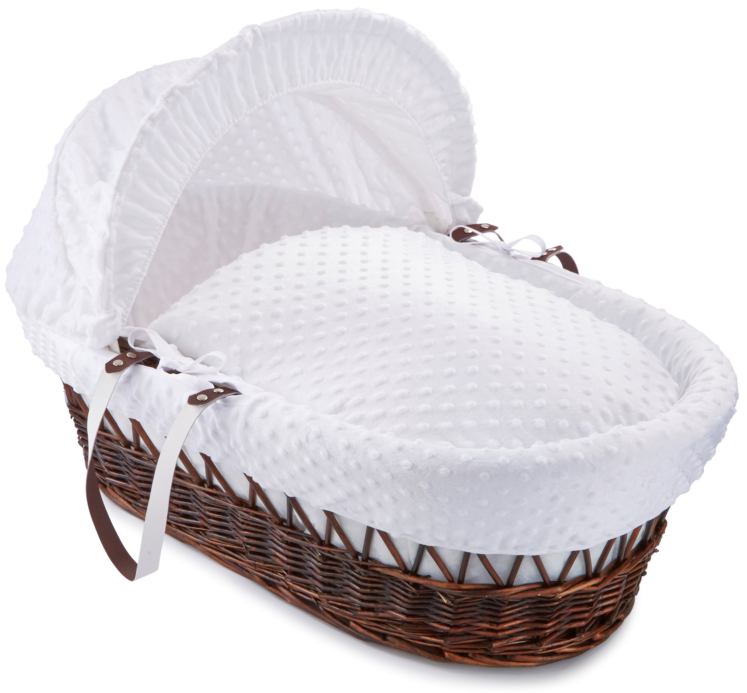 Dimple Dark Wicker Moses Basket - White  Super soft, dot Dimple Moses dressings are super soft next to your baby's skin. Comes complete with two carry handles, adjustable hood, 2.0 tog coverlet & mattress. The chic white Moses basket is made using sturdy, lightweight wicker. 1