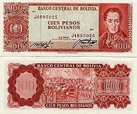 GOLD MINT Rare 1962 Bolivia 100 PESOS BOLIVIANOS Original Foreign Currency Legal Money BankNote