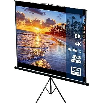 Ecran de Projection Portable Auto-Rétractable 203 x 203 cm avec trépied Longueur Réglable Présentation Cinéma 1:1 4:3 16:9