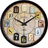 NATUREL Plastic Frame Wall Clock with Glass for Home and Office (12 Inches, Black)