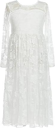 belababy Mädchen Kleid Spitze Langarm Boho Tutu Floral Spitze Tüll Kommunion Pageant Blume Mädchen Kleid Weiß