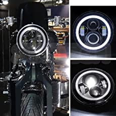 AutoSun 7 Inch Round LED Headlights Stylish Halo Angle Eyes + Signal For Royal Enfield Royal Enfield Classic 350/ 500CC