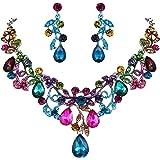 BriLove Women's Bohemian Boho Crystal Filigree Vine Leaf Hollow Enamel Statement Necklace Dangle Earrings Set
