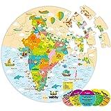 Webby Amazing India Map Jigsaw Floor Puzzle 60 Pcs with 4 Double Sided Flashcards