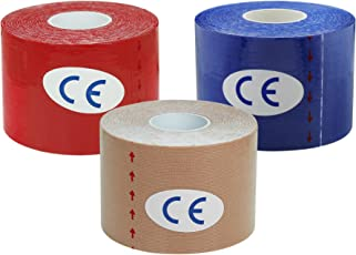 A-TAPE Kinesiology Tape (Pack of 3) Knee, Calf and Thigh Support (Waterproof Spandex Cotton, Red | Beige | Dark Blue) 5 MTR X 5 CM