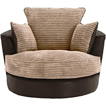 Large Swivel Round Cuddle Chair Fabric Corduroy Chenille Leather Designer Scatter Cushions (Brown)  sc 1 st  Amazon UK & Sofas and More Large Swivel Round Cuddle Chair Fabric (Grey): Amazon ...