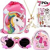 vamei 7Pcs Borsa Unicorno Bambina Zaino Unicorno Regali per Ragazze Collana Unicorno Occhiali Orecchini Tatuaggi Temporanei B