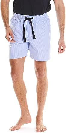 Savile Row Men's Pyjama Shorts - 100% Cotton Soft PJ Bottoms Lounge Shorts Nightwear Sleepwear Loungewear