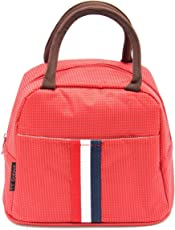 Shopaholic Dots Design Lunch Box Insulated Bag with 2 Compartments (Red)