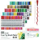 laconile 100 Farben Dual Aquarell Pinsel Stift Art Marker mit 2 mm Pinselspitze und 0,4 mm feine Spitze für Erwachsene Malbücher Manga Comic Kalligraphie Zeichnen Skizzieren Malen
