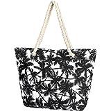 Taumie Große Strandtasche mit Reißverschluss, Damen Familie Segeltuch Umhängetasche, Shopper Schultertasche Beach Bag, Sommer