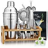 Godmorn cocktailshakerset, roestvrij staal, 15-delige barkeeperset met betere bamboestanden, receptenboek, maatbeker en barle